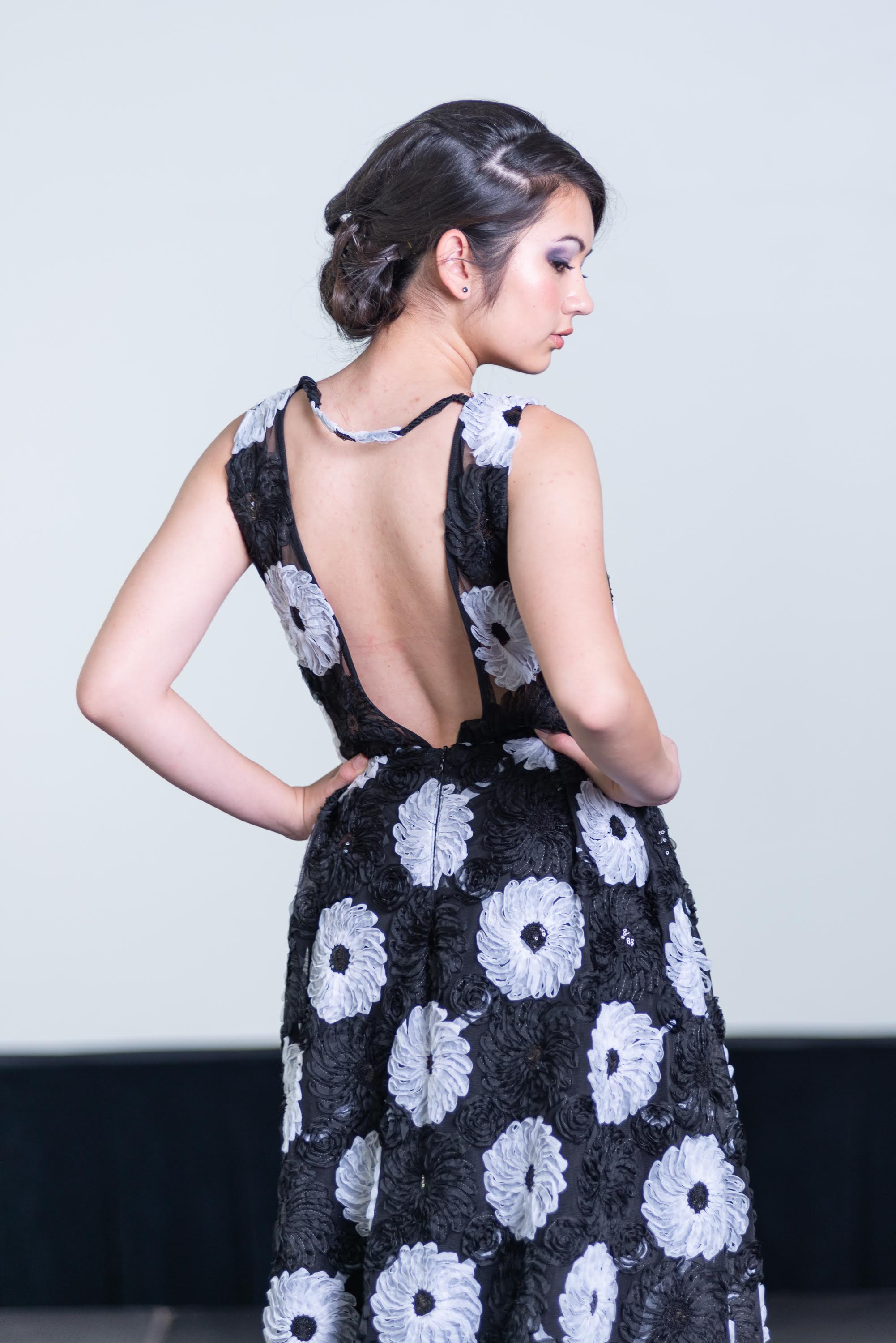 Black Mesh with White Floral Applique and Sequins Floor Length Dress with Pockets