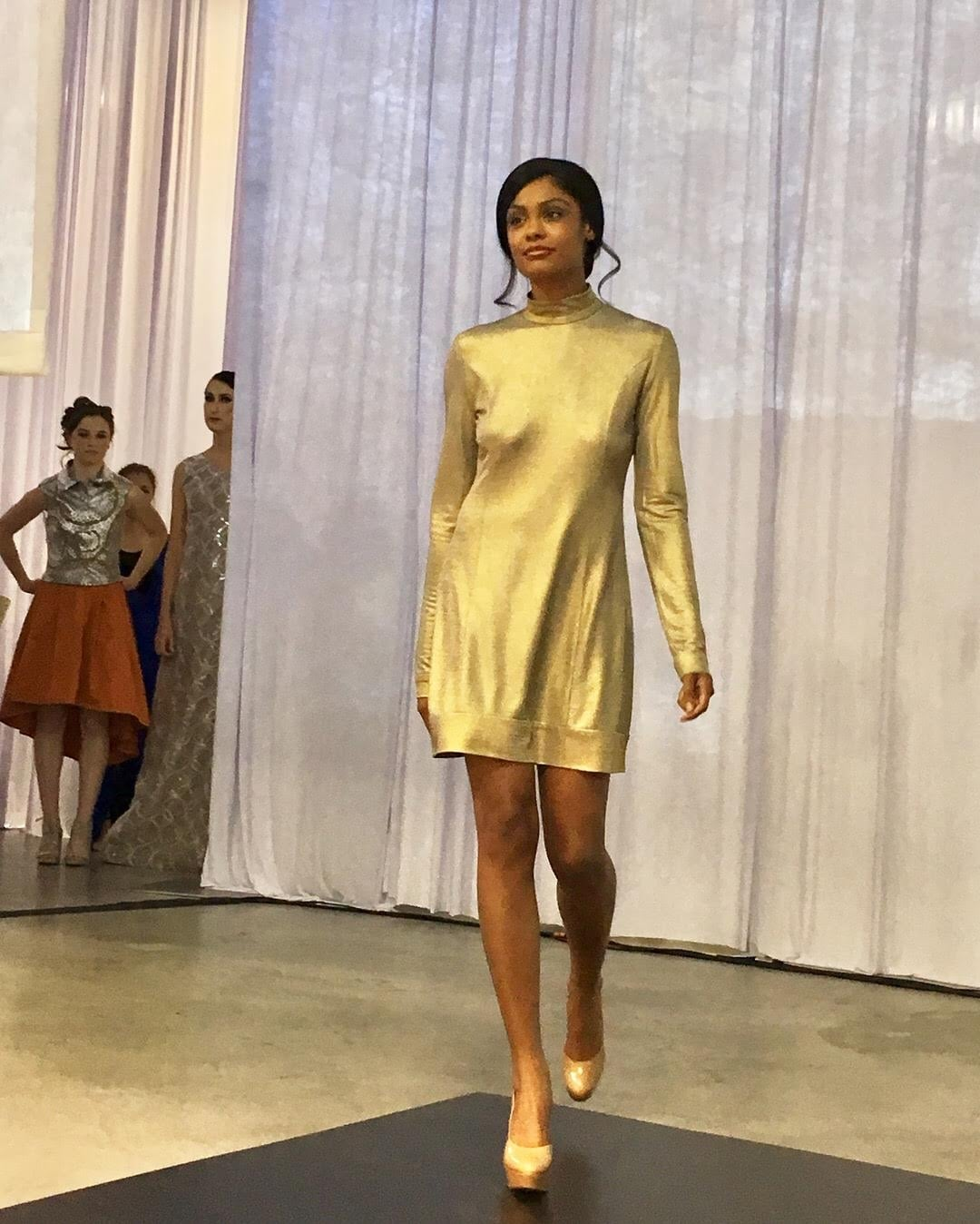 Gold Metallic Knit Dress with Open Back