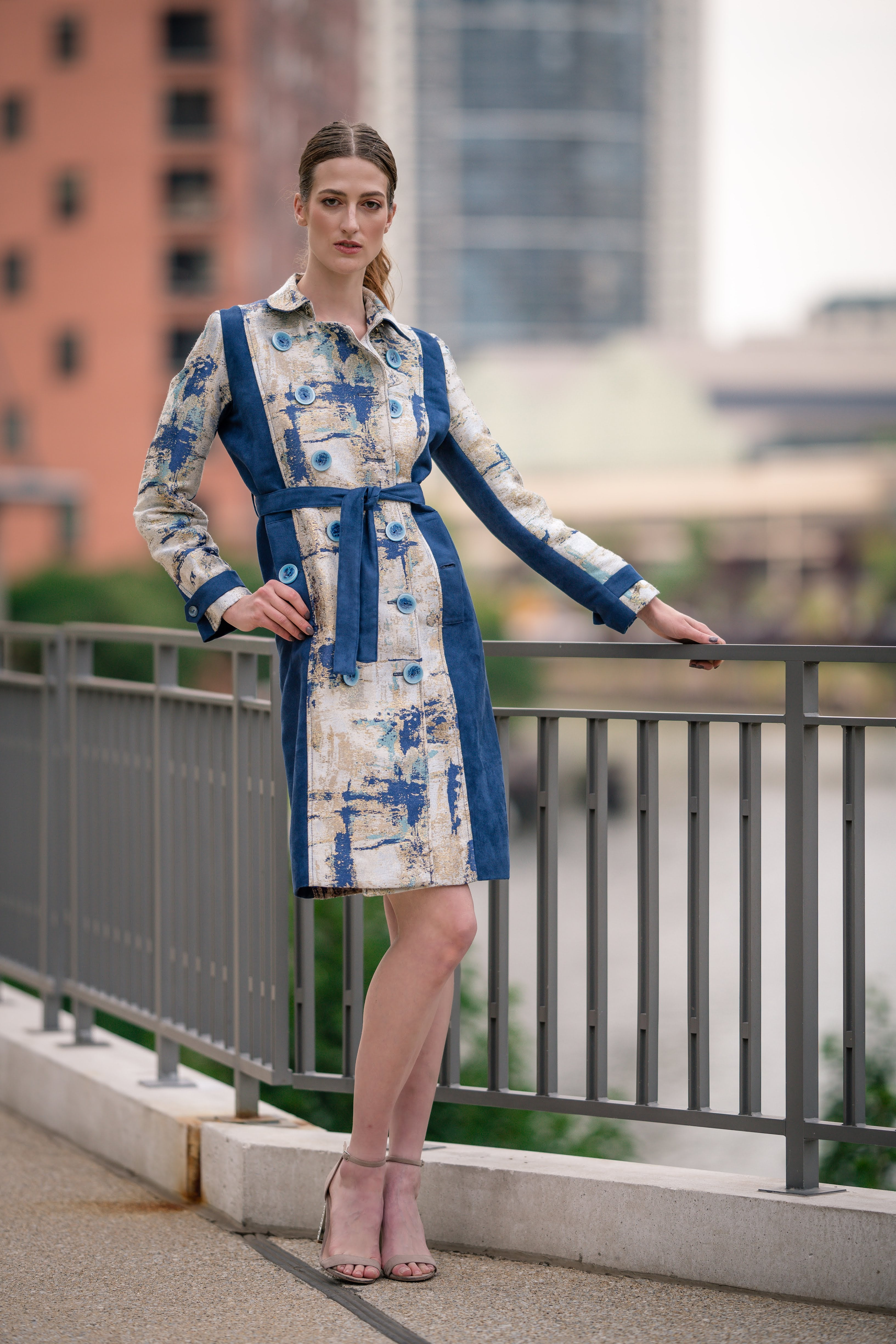 Blue Suede Look and Abstract Print Color Block Double-breasted Trench Coat